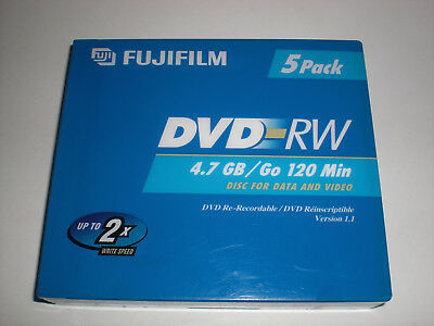 Fujifilm DVD-RW 4.7 GB or 120 Min Re-Recordable Data & Video Disks 5-Pack NIP