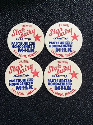 Vintage Salmon Idaho Star Dairy Milk Bottle Lids Lot Of 4