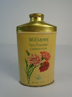Early 1900s Vintage Williams Talc Powder Carnation Tin with Contents Advertising