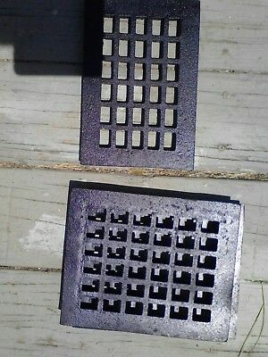 "Vtg Small Cast Metal Floor / Wall Heating Grate - 7 1/2"" X 9 "" - Very Good clean"
