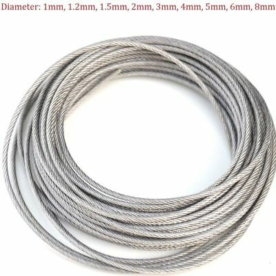 Stainless Steel Wire Rope Cable PVC Plastic Coated 1mm 2mm 3mm 4mm 5mm 6mm 8mm