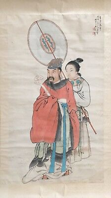 Antique Chinese Watercolor Painting Scroll of Ancient Figures