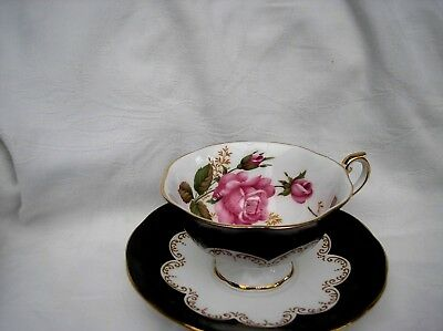 """Stunning Vintage Cabinet Cup & Saucer By Queens Bone China """" Ebony """""""