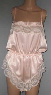 Vintage Amaretta Pink Shiny Liquid Satin One Piece Teddy Lingerie Nightgown L