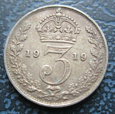 1919 George V Silver Threepence - 3d, better grade