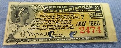 The Mobile And Birmingham Railway Company Gold Bond Coupon