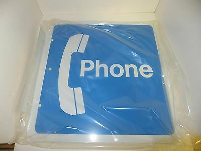 Payphone Sign New Retro Wall Mounted Blue Phone Coin Aluminum 18x18 Full Large
