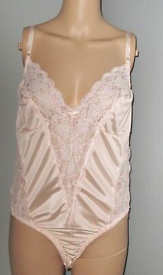 Vintage Fortune Light Pink Sheer Nylon Lace Insets Teddy Lingerie Nightgown L