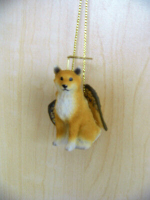 Shiba Inu Dog ANGEL Hanging Ornament Figurine Statue 1.75 inches