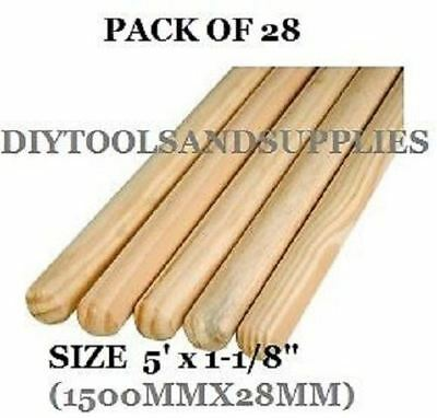 "PACK OF 28 Wooden Broom Handles 5ft x1-1/8"" (1500 x 28mm)sweep brush sweeping PK"
