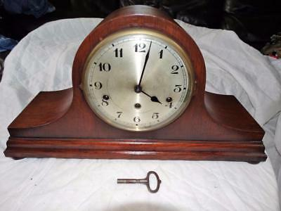 Large Antique Napoleon Hat Oak Cased Mantle Clock,westminster Chimes,working,key
