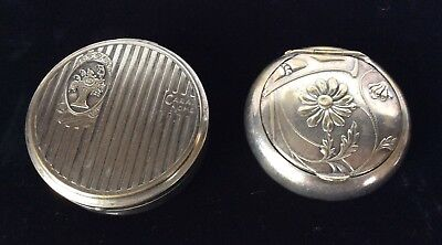 Lot of 2 Vintage Silver Plated Pill Boxes With Hinged Lids
