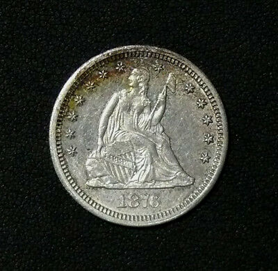 1876-CC Seated Liberty Quarter HIGH GRADE GREAT EYE APPEAL  AU Details