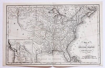 1832 United States Territory Map 54-40 Or FIGHT BORDER TEXAS MICHIGAN TERRITORY