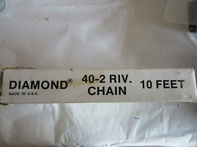 Diamond 40-2RIV Roller Chain 10 Feet Made in USA NEW!!! Free Shipping