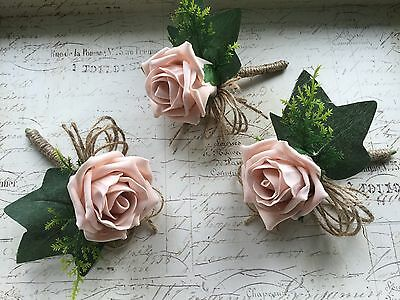 X6 Artificial Blush Dusky Vintage Pink Rose Buttonholes, Rustic, Hessian Wedding