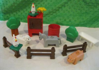 Vintage Lego Duplo Farm Barn Animals Fence Chicken Coop Donkey Pig Sheep Lot Set