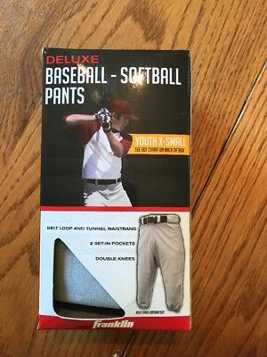 Franklin Deluxe Baseball Softball Pants Gray Size Youth X-Small Waist 20-22 New