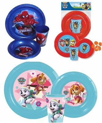 3Pc Childrens Plate Bowl & Tumbler Cup Mug Kids Dinner Lunch Or Picnic Meal Sets
