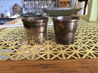 (2) Vintage Wallace Silver Shot Cups Glasses - Plated #9074