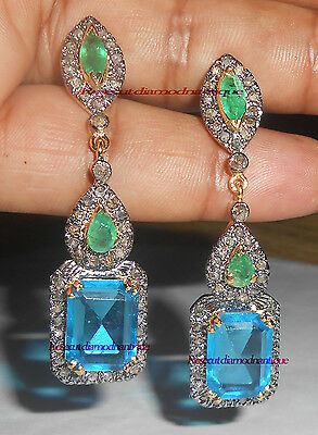 Rosecut Antique Cut Diamond .925 Silver Bridal & Wedding Party Jewelry Vintage Turquoise Earring 3.60ct Jewelry & Watches