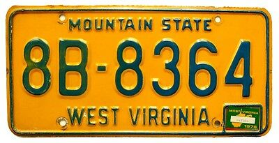 Vintage West Virginia 1976 License Plate for Muscle Car, Ford, Chevy, MOPAR