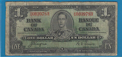 1937 1$ Bank Note Of Canada Coyne/Towers A/N0039783 Circ BC-21d