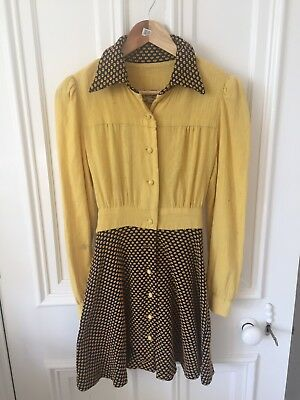 60s - 70s Vintage Dress Yellow Blue