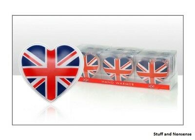Instant Heating GEL HAND WARMERS Reusable Union Jack Heart Heat Packs Pads Gift