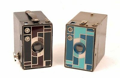 Two Vintage Beau Brownie Box Cameras Blue & Black Models