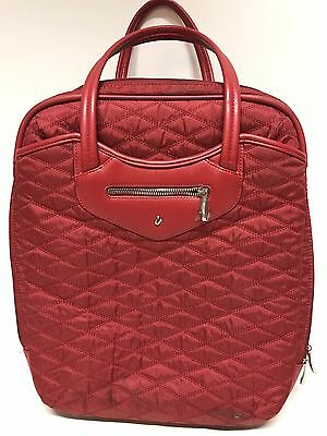 "Knomo Luggage Red 15"" Laptop Wheeled Rolling Carry On Trolley Bag $325 Retail"