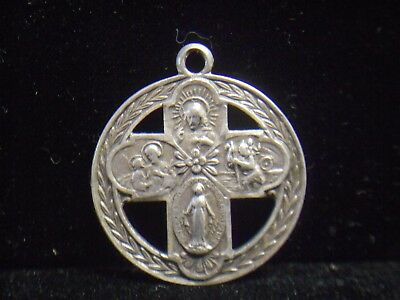 Sterling Silver Mary Joseph Jesus Christopher Cross Medal Pendant *Free Shipping