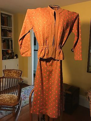Vintage late 1940's  Polka Dot Suit by Glengarry  Orlon Red Orange Brown Small