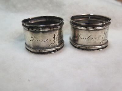 2 Antique sterling napkin rings by Gorham, Pauline David, flowers and leaves