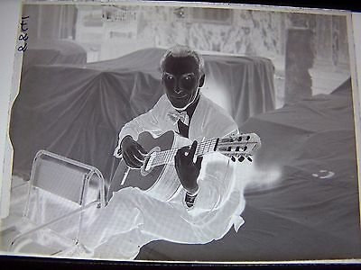Man Sitting Playing Classical Guitar Vintage Glass Negative Instrument