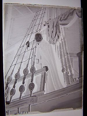 Man in Long Cloak on Ships Rigging Actor Glass Negative Ship