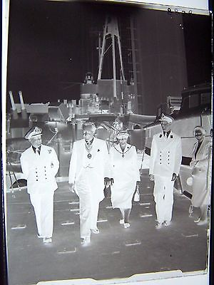 Naval Officers & Dignitaries Ship Navy Sailor Vintage Glass Negative