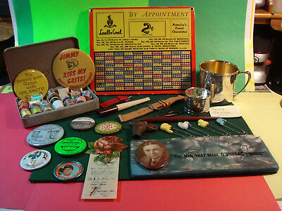 Junk Drawer Lot Of Fun Items Punch Board Celluloid Advertising Items Baby Cup