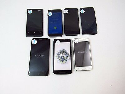 Lot of 7 Assorted Parts & Repair Phones Unknown Carrier Check ESN PR