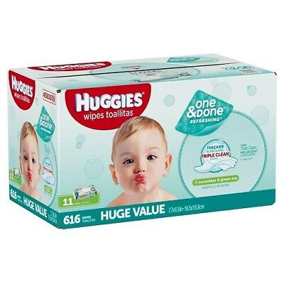 HUGGIES One and Done Refreshing Baby Wipes, 11 Soft Packs, 56 Wipes, 616 Total