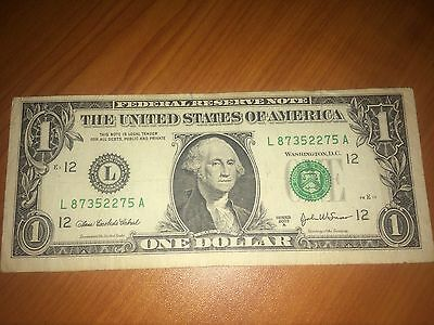 The United States of America One Dollar Note L87352275A Circulated