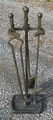 Antique Vintage Cahill Arts & Crafts Iron Fireplace Tool Set 3pc Firetools Stand