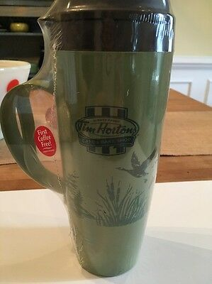Tim Hortons Green Insulated Travel Mug Ducks Geese NEW