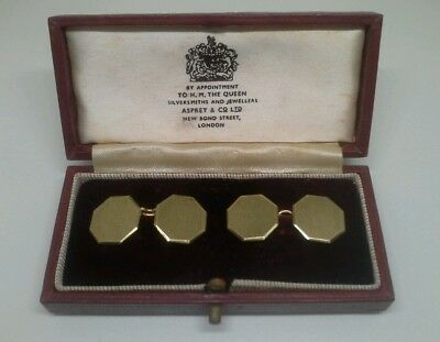 Pair Of Asprey & Co London Solid Gold Cufflinks Made By Sj Rose & Son 8 Grams