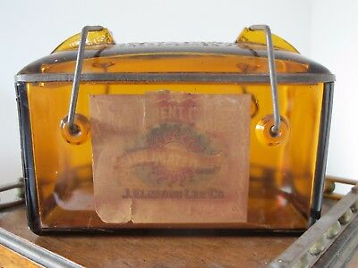 PAT 1893 AMBER GLASS GAUZE STERILIZER w/ LABEL