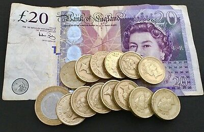 £35 British Pounds Sterling Bank Of England Currency Coins & £20 Banknote