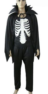 Adult Skeleton Vampire Cape Skull Top Trouser Halloween Bone Fancy Dress Costume