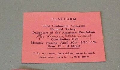 1953 DAR Daughters of the American Revolution Continental Congress Ticket Stub