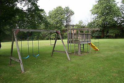 Used Wooden Outdoor Playgym And Swing Set