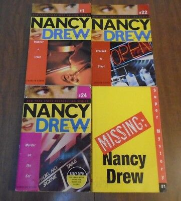Lot of 4 Nancy Drew Girl Detective Books (1, 22, 24, SM1) Carolyn Keene SC